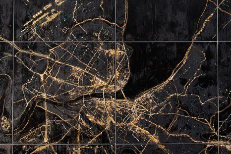 Sandrine Damour a créé une série d'œuvres intitulée URBAN TRACKS, dont la dernière raconte la formation du canton de Genève (150 x 200 cm).