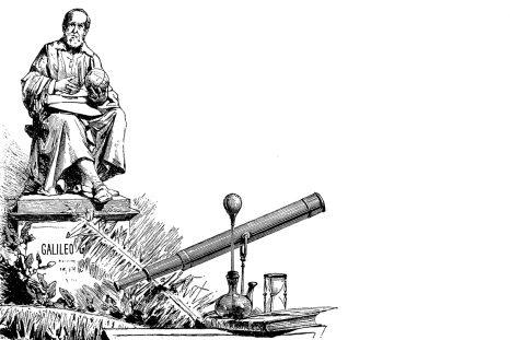 Au XVIIe siècle, l'astronome Galileo Galilei découvre que la Terre tourne autour du Soleil. L'Église le forcera à maudire ses travaux.