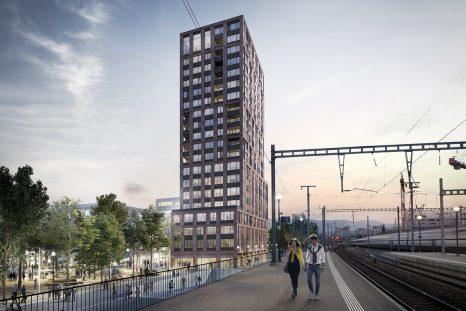 Le futur quartier Malley-Gare comprendra cinq tours de 63 et 76 mètres situées le long de voies CFF.